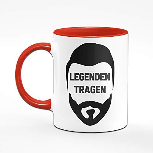Tassenbrennerei Tasse mit Spruch Legenden Tragen Bart - Geschenk für Männer mit Bart Tassen mit Sprüchen lustig (Rot) - 2