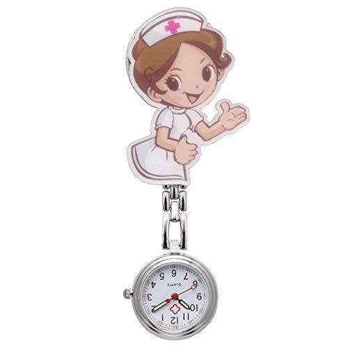 JSDDE Orologio per infermiera con catena e clip, orologio al quarzo con figurina di infermiera