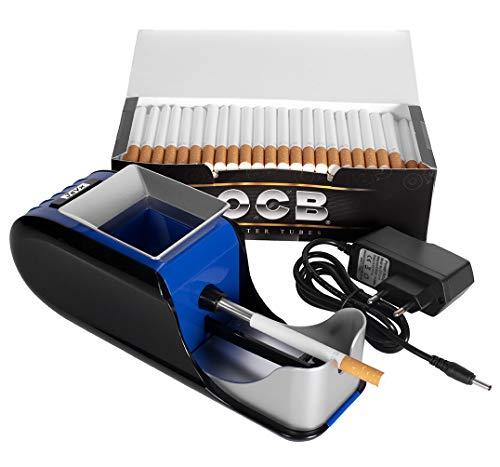 Maquina Liadora de Tabaco Electrica + 200 Tubos con Filtro OCB Entubadora para Cigarrillos Cigarros para Fumar (Azul)