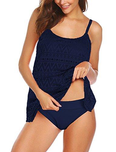 Size Mesh Bikini Set Gefüttert Tankini Bademode 2 Stück Schwimmen Kostüm (EU 42--44 ( 2XL ), Dunkel-blau) (Passende Kostüme Für Zwei Beste Freunde)