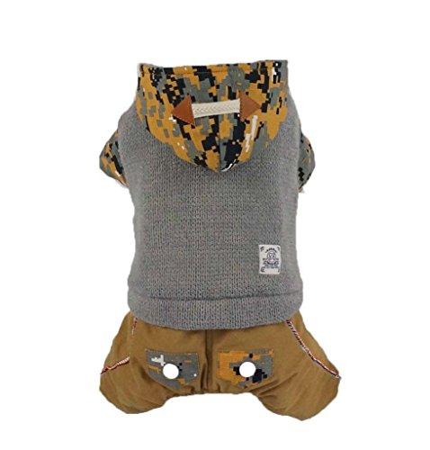 Animali Cani vestiti di autunno ispessimento di inverno con un cappuccio mimetico per il tempo libero quattro piedi di vestiti , gray , xl