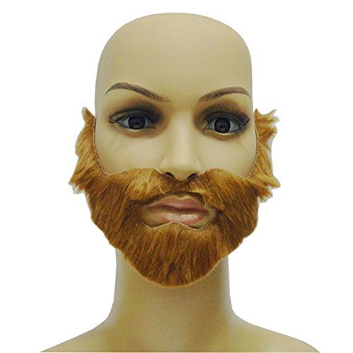 (Amosfun Selbstklebender Bart Festival Bart Gesichtsbehaarung Halloween Partybedarf (braun))