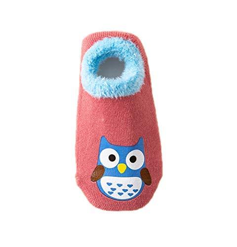 Hapkou 6 Pares Calcetines Antideslizante para Bebé Niña Niño Animados Lindo Búho Algodón Calcetines de Bebé 5