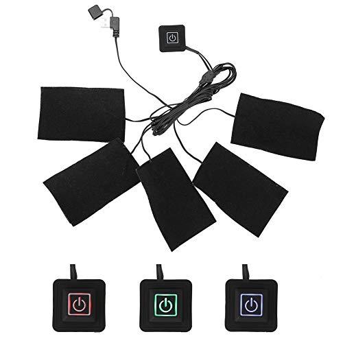 USB Tuch Heizung für beheizte Weste, Elektrische Kleidung Fünf Heizkissen Heizelement Einstellbare Temperatur Wärmer Werkzeug