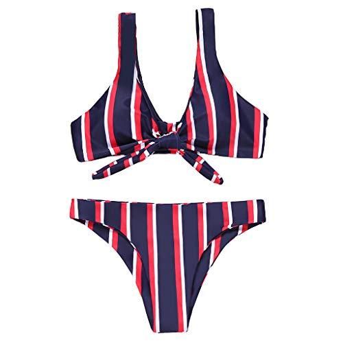 VIccoo 17 Styles Damen Sexy Zweiteiler Bikini Set Push Up Krawattenknoten BH Bunt Boho Floral Stripes Bedruckter Badeanzug Badeanzug mit mittelhohem Dreiecksboden - N# - S