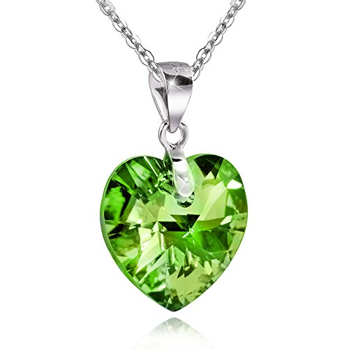 MATERIA circonitas cadena colgante corazón Bona de peridoto verde–925plata colgante facettiert # KA de 256