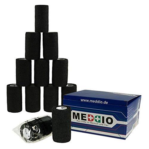 12 Haftbandagen Größe+Farbe wählbar - selbsthaftende Bandage Fixierverband selbstklebend, Farbe:black velvet, Größe:10cm -
