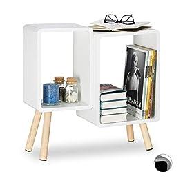 Relaxdays 10021921 Tavolino 2 Scomparti a Forma di Cubo, Stile Retro, Gambe in Legno, Decorativo, HxLxP 55,5x55x24 cm, Vari Colori