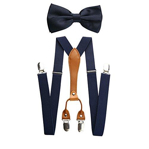 Mens verstellbare elastische Hosenträger und Fliege Set (Marine)