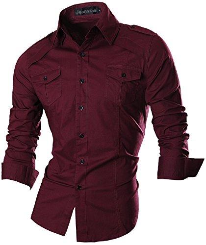 jeansian Herren Freizeit Hemden Shirt Tops Mode Langarmshirts Slim Fit 8371 8001_WineRed