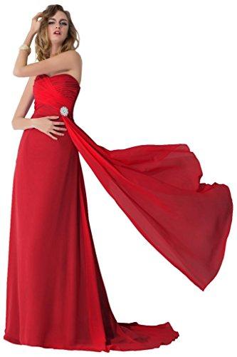 Sunvary 2015 Chiffon corte treno Pageant Gowns-Cartamodello per abiti da sera o da cerimonia, con diamanti Rosso