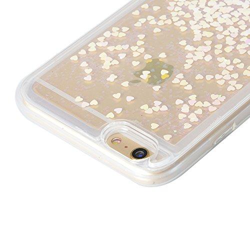Paillette Case pour iPhone 7 (4.7 pouces) Souple TPU Silicone Housse,Sunroyal Bling Glitter Liquide Sables Mouvant Soft Shell Étui Bumper Dual Layer Transparent Clair Cristal 3D Protecteur Gel Coquill Brillant Rose