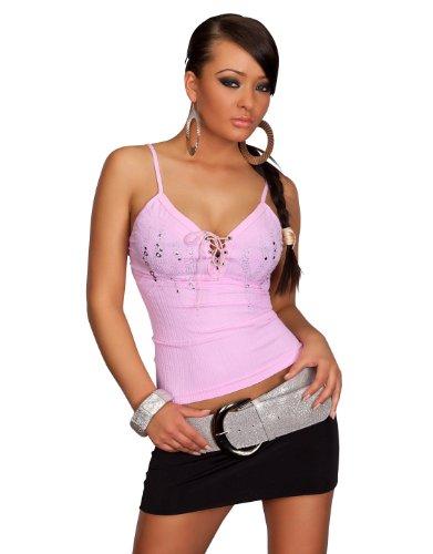 Sexy Spaghettiträger-Top mit Nieten-SteinchenGr. S M L XL 34 36 38 40 42 #3020 (L/XL 38 40 42, Rosa (Gogo Muster Kleid)