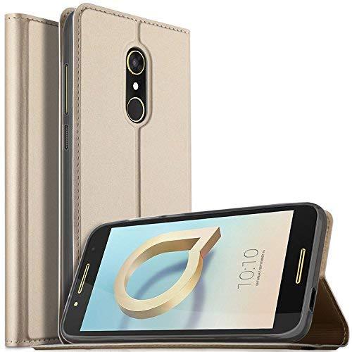 Alcatel Idol A7 Hülle, KuGi Alcatel Idol A7 Flip Bookstyle Kompletter Schutz Mit Magnetverschluss und Standfunktion Tasche Etui Cover Case Schutzhülle für Alcatel Idol A7 Smartphone (Gold)