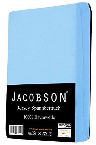 Jacobson Jersey Spannbettlaken Spannbetttuch Baumwolle Bettlaken (60x120-70x140 cm, Hellblau) - 2