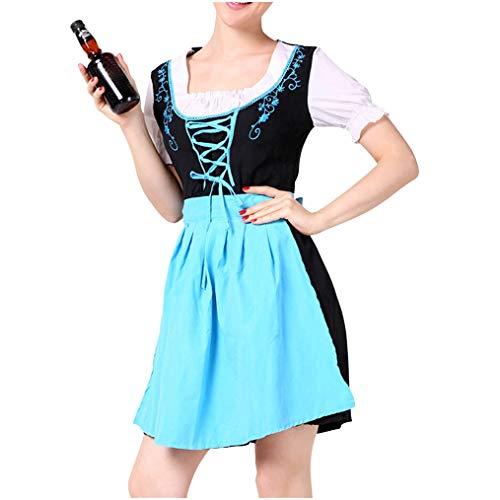 Zurück Elasthan (NAIHEN Frauen Bier Festival Kleid Sexy Dessous Blue Dress Beer Festival Cosplay Kostüme)