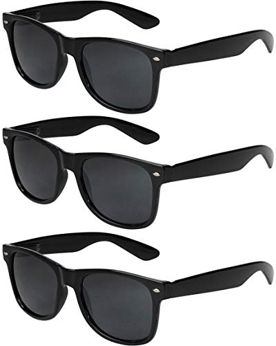 X-CRUZE 3er Pack X0 Nerd Sonnenbrillen Vintage Retro Style Stil Design Unisex Herren Damen Männer Frauen Brillen Nerdbrille Nerdbrillen - schwarz - Set B -