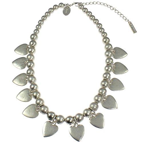Kostüm Schmuck Silber matt Farbe Herz Charm Graduated Bead Kurze Armatur Halsreif Halskette