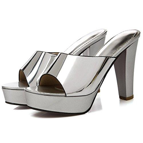 TAOFFEN Damen Elegant Schlupfschuhe Slide Open Back Block Absatz Party Sandalen Silber