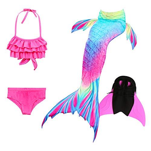Le ssara ragazze mare-domestica swimwear mermaid shell costume da bagno 3pcs insiemi del bikini (120, dh52+wjf48-pink)