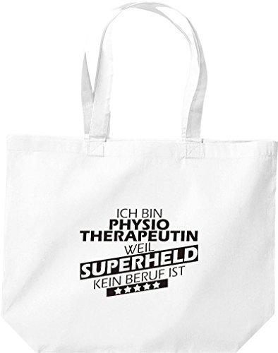 Shirtstown große Einkaufstasche, Ich bin Physiotherapeutin, weil Superheld kein Beruf ist, weiss