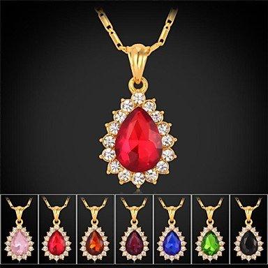 MGS-Halsketten Schmuck @ Modische Halsketten Imitation Diamant Halsketten / Anhängerketten Schmuck Hochzeit / Party / Alltag / Normal ModischEdelstein / Strass / , champagne (Imitation Diamant-halskette)