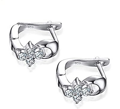 Boowhol 925 Sterling Silver Small Flowers Earrings Hoops for Women/Girls with Gift Box
