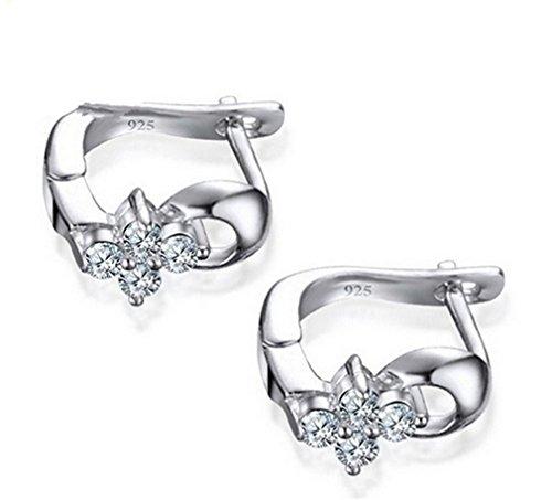 Wiftly 1 Paar Damen Creolen U-Form 925er Sterling silber Allergiker mit Zirkon Mode Ohrringe Schmuck