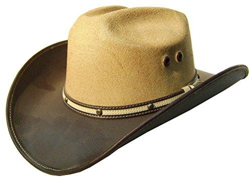 Modestone Unisex Leather Feel Brim Straw Crown Cowboy-Hut Brown
