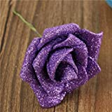 Meet The World 6 Colors Artificial Rose DIY Nosegay Handmade Foam Flowers Simulation Rose - Purple