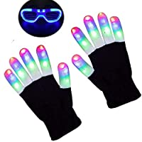 Anzmtosn Kids Light Up Gloves Kid Children Finger Light Flashing LED Warm Gloves Lights Show for Birthday Halloween Christmas Xmas Dance Rave Party Best Gifts - Bonus Led Glasses