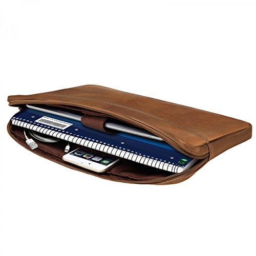 ROYALZ Tasche Leder für HP Spectre x360 Ledertasche (auch mit HP EliteBook x360 kompatibel) (13.3 Zoll) Lederhülle Hülle Sleeve Cover Schutztasche Schutzhülle Etui Vintage, Farbe:Hellbraun Matt