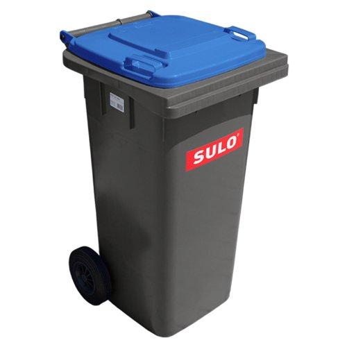 SULO Mülltonne MGB 120 grau mit Blauem Deckel (Blau Hoch Mülltonne)