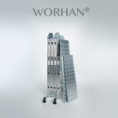 WORHAN 4.6m Échelle Aluminium Multifonction avec 2 Plates-formes d'acier Modèle GROSSE CHARNIÈRE Polyvalente Escabeau Échafaudage Multi-usage ALU Modulable Pliable KS4.6+Platform