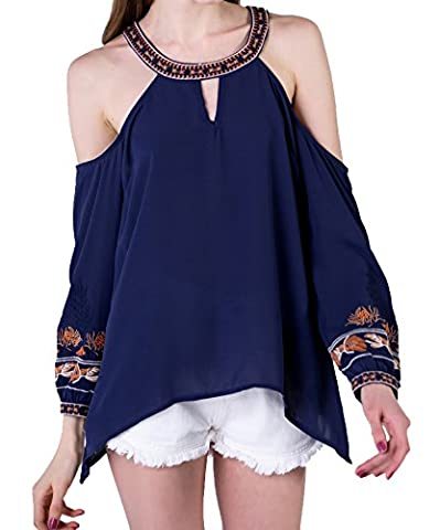 Wtrend Women's Halter Neck Cold Shoulder Embroidery Chiffon Blouse Navy L