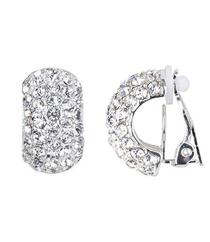 SIX Funkelnde Ohrclips für Damen: Silberfarbene Ohrringe in Form von halb-Creolen mit Strasssteinen überzogen, ohne Ohrlöcher (434-551)