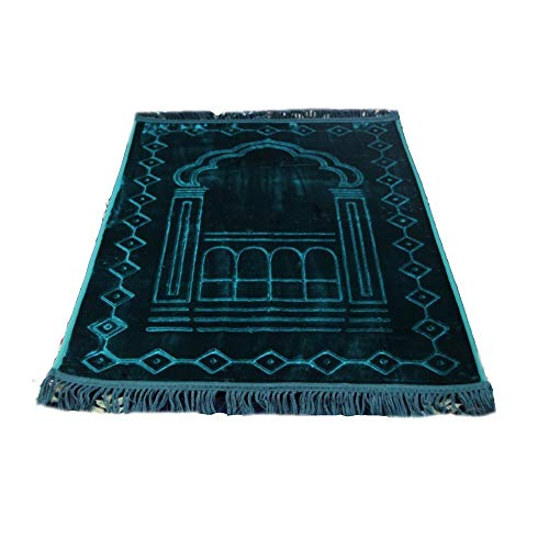 BaronHong Baumwolle Islamischer Gebetsteppich Pilgerweg 31.5X49.2 '(grün, M)