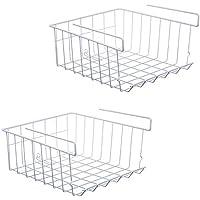 ASTOTSELL Cesta de almacenamiento debajo del estante, paquete de 2 Organizador de la cesta de almacenamiento de alambre de metal debajo del estante para gabinete de armario de cocina, blanco