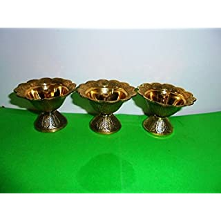 Artcollectibles India 3 Brass Diya Deepak Akhand Jyot Kuber Hindu Temple Havan Puja Religious Oil Lamp