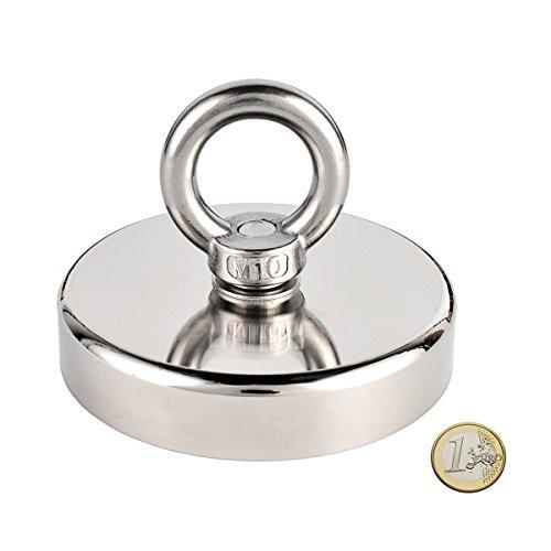 Uolor 300 Kg Haftkraft Neodym Ösenmagnet Magnete, N52 Super Stark Magnet Perfekt zum Magnet Angel Magnetfischen - Ø 90mm mit Öse Neodymium Topfmagnet