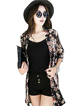 Tongshi Imprimir kimono floral de las mujeres rebeca de la camisa de la gasa remata la blusa del mantón de la...