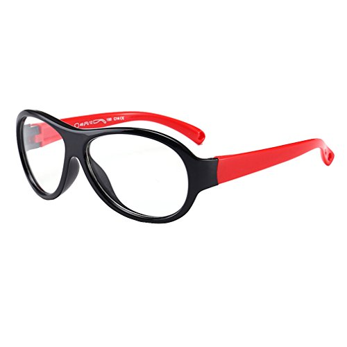 Hibote Mädchen Junge Brillen - TR - Clear Lens Glasses Frame Geek/Nerd Brillen mit Car Shape Gläser Fall - 18071010