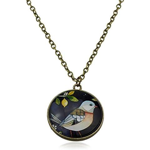 Reversible Swallow Pájaro Ilustración Arte y árbol de la vida vidrio cabujón colgante Charm en bronce cadena suéter collar