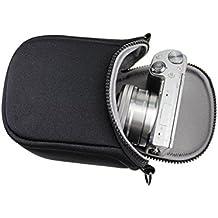 YIYO - Funda de viaje con correa para cámara, apta para Fuji Instax Mini 8, 70, 7S, 25, 50S, 90, Sony ILCE-6000L, A6000, A6300, 5000L, A5000, 5100L, A5100, lentes de  16 - 50 mm, color negro