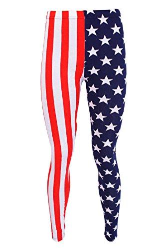 Islander Fashions Damen Plain Stretchy Leggings Damen voller L�nge gedruckt d�nne Legging Hosen USA Flag X gro�e EU 44-46