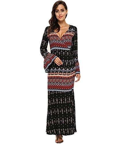 StyleDome Damen V-Ausschnitt Dünne Strandkleid Floral Boho Sleeve Paket Hip Partykleid Schwarz 2XL (Hippie-boho-schlinge)
