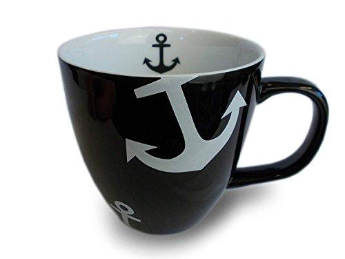 Unbekannt Maritimer Kaffeebecher aus Keramik Schwarz mit weißem Anker 400ml (Schwarz)