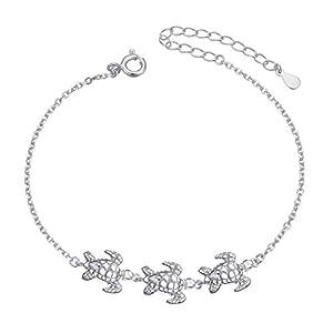 (Gesundheit und Langlebigkeit) Flyow S925 Sterling Silber Fußkettchen für Damen Frauen Tier Schildkröte Charme Einstellbare 9 Zoll + 1 Zoll Fuß Knöchel Armband Schmuck Geburtstagsgeschenk