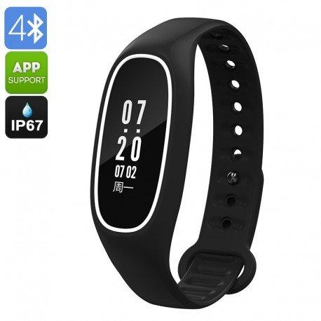 Fitness Tracker Armband db01-natación Funktion, IP67, Pulsmesser, Schrittzähler, Kalorienzähler, Druck, (schwarz) der
