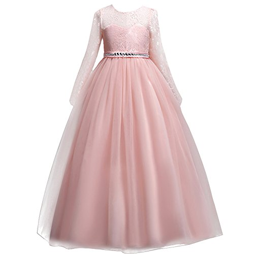 Festlich Mädchen Kleid für Kinder Sweet Prinzessin Langarm Spitzen Kleider Hochzeit...